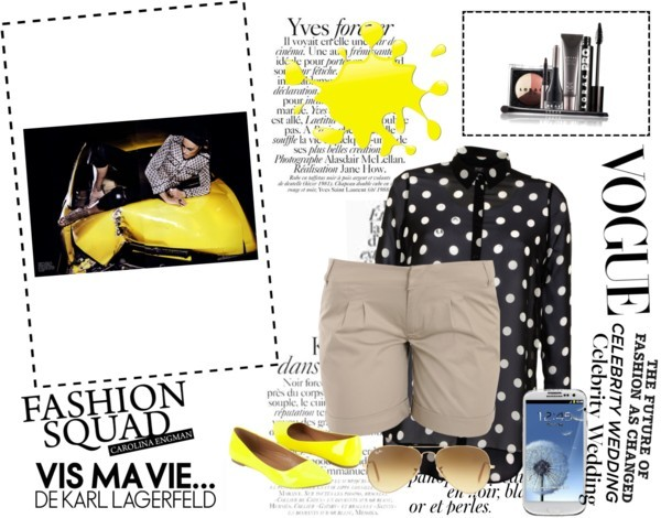 yellow dot by amandaking49 featuring yellow makeupBlouse, $21 / Beige shorts, $73 / Tech accessory / Ray-Ban logo sunglasses / LORAC mod makeup / Yellow makeup, $2.65
