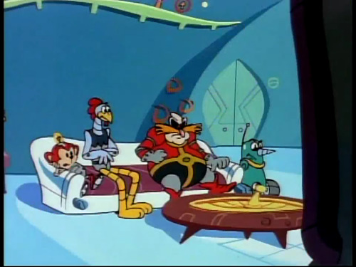 D'awww, the Robotnik family's watching TV together! Even Coconuts! Grounder's not allowed on the couch, though. (From Adventures of Sonic the Hedgehog Episode 37 - The Magic Hassle)