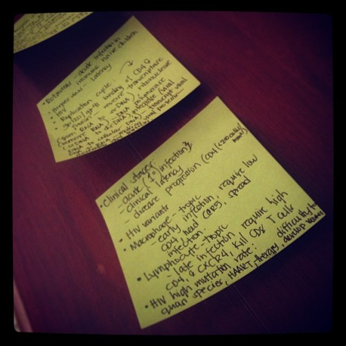 Getting rid of these. For now.   #postit #immunology #cancer #sjsu #finals #college
