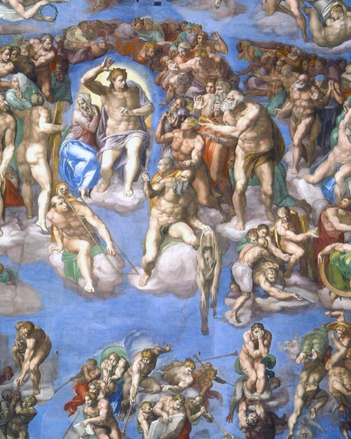 detail from Michealangelo's Last Judgment. there is a psychedelic aspect to this art. look through the christian connotation, see the intricacy and artistry and beauty and vision. its insane.