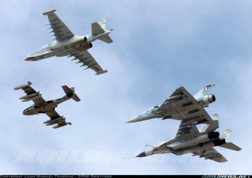 helghasttactician:  Cessna A-37B Dragonfly, Sukhoi Su-25 Frogfoot, Mirage 2000, and a Mikoyan-Gurevich MiG-29 Fulcrum of the Fuerza Aérea del Perú - Peruvian Air Force. (Source)