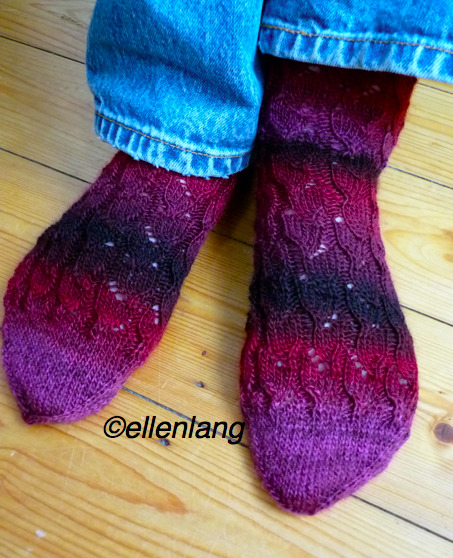 A new pair of socks for myself.  The pattern is originally for fingerless mittens, but it works out fine for socks, too. Knit long and prosper…