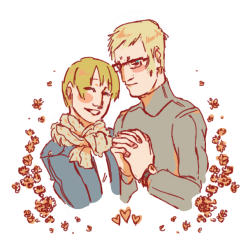 cafealluvion:  Hello new followers! Look, my otp. Get excited for more of this. (there's still time to run) (or rev up your tumblr saviors) I did the lines in Pchat kinda quickly and carelessly. I did the colors in Photoshop in a similar manner. There are mistakes, but it was still fun and kind of freeing.