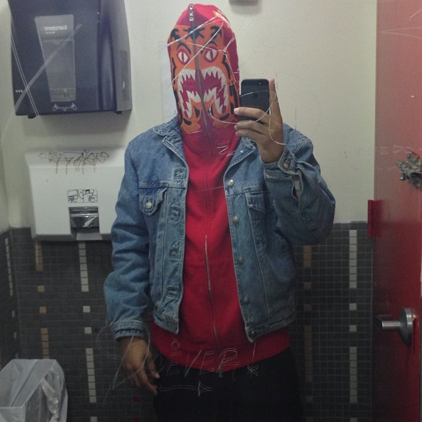 Trashy #NYC bathroom pics… #whoisdavidbest  #yesterday #outfit #ootd #Bape #bathingape hoodie, #vintage #Versace #denim jacket, #Y3 pants  #instafashion #instastyle #streetstyle #streetfashion #style #denimjacket #instamood #instagood #instahub #ig #igers #igdaily  (at Hi Mom)