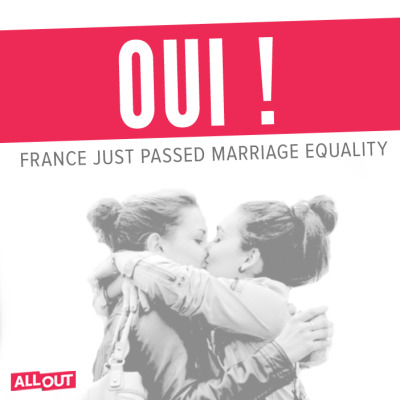 HUGE day for love. After months of hard work and protest, marriage equality has passed in France — 331 to 225. era oraaaaaa e in italia quando?!?!?