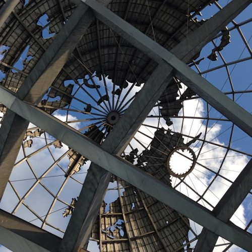 I love this unfamiliar vantage point of the familiar Unisphere. ebonysolis: #Steel #globe #queens
