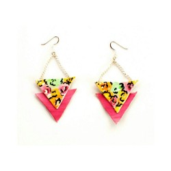Http://shopbeatniq.com Now available! Floral leather triangle earrings. #beatniq #floral #flowers #leather #earrings #pink #triangle #mint #orange #yellow #pretty #jewelry
