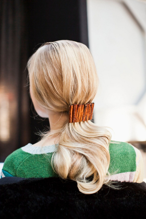 Ponytail idea: pull it back low and secure with a statement-making clip.