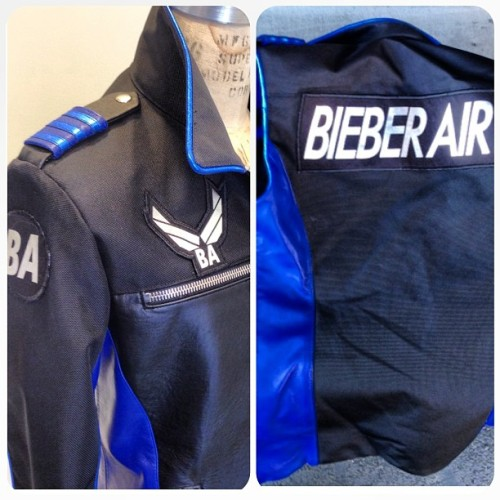 bieber-news:  kemalandkarla: Detail shot of the custom Bieber Air jacket designed by @karlawelchstylist @kemalandkarla for tonight's Billboard Awards