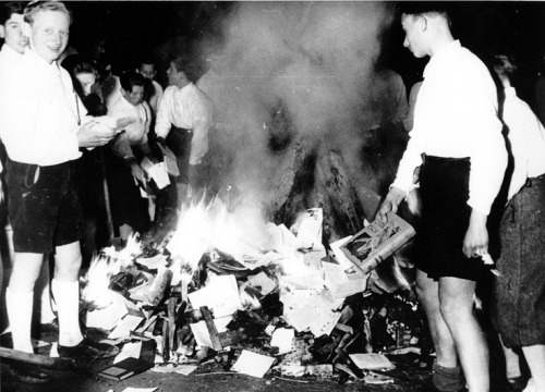 Burning banned books by Jewish authors and others deemed against the Nazi agenda