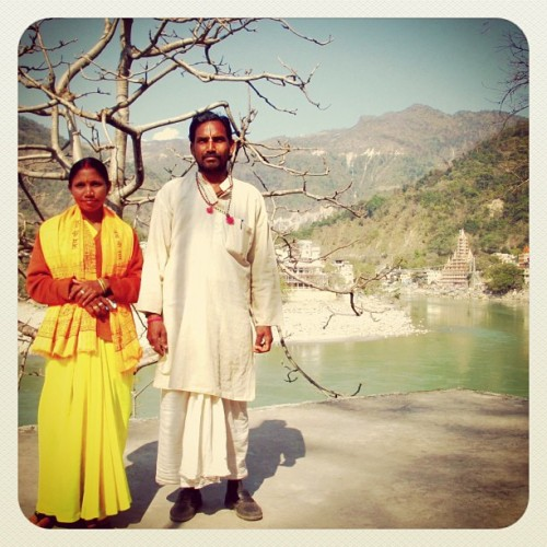 Indian couple on the banks of the Ganges River - Rishikesh, India