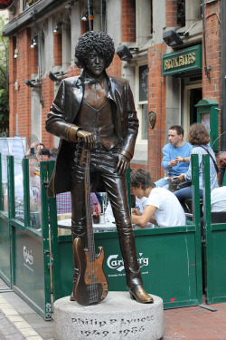 bloomsday:  Phil Lynott (20 August 1949 – 4 January 1986) on Flickr. The beautiful Phil Lynott statue in July 2011, off Grafton Street, Dublin. I was saddened to learn this morning that it's been damaged by two idiots who thought it would be a good idea to knock it off its pedestal (it nearly broke in half). What the hell, people? What the hell…