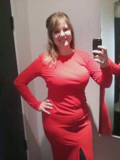 Tryin on dresses.  I got a little belly but the overall shape is nice.  42-34-43