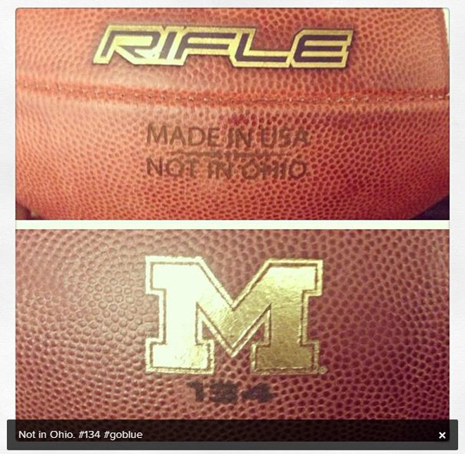 Even Michigan's footballs hate Ohio State. (via deverjr_3/Instagram)