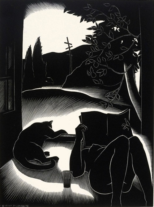 the-night-picture-collector: Paul Landacre, Sultry Day 1937 #paul landacre#reading#cat