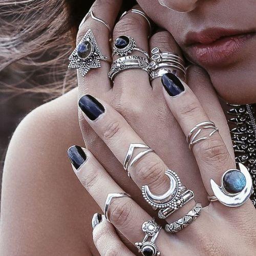 boho rings boho ring boho accessory boho accessories black nail polish nails nail polish fashion moda girl style outfit street style stylish bohemian boho chic