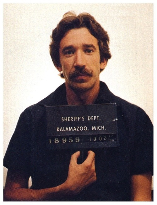 Here is Tim Allen's mug shot from 1978, arrested due to his possession of over a pound of cocaine. At the time he could have been sentenced to life in prison (ridiculous!), so he became a snitch to reduce his sentence to five years and was paroled after 2.5 years. Now now, don't hate, you know you would have done it too. The snitching I mean, not the cocaine. Anyway Timmy Allen Dick dropped his last name (clearly, not a bad idea) and became one of America's many famous criminals — or as we now call them, celebrities. The man is sporting one badass mustache… and that deserves to be reblogged, yes?