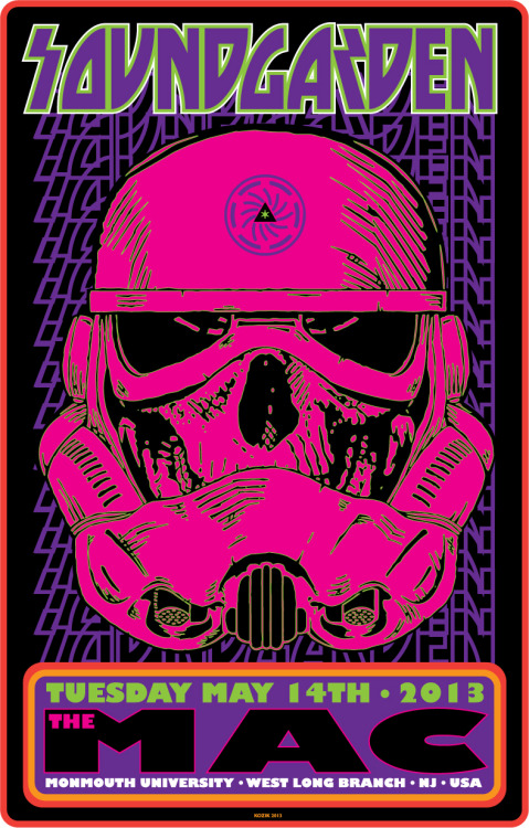 Soundgarden, West Long Branch, NJ, May 14, 2013. Designed by Frank Kozik. (Details here.)