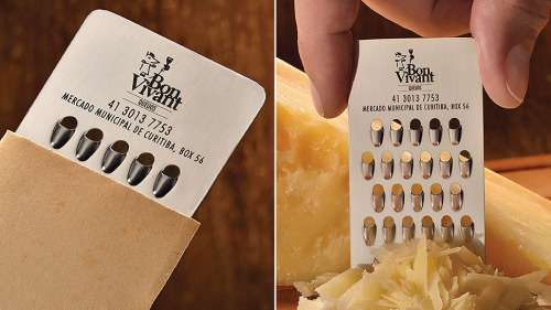 lickypickystickyme:  murrayscheese:cheesenotes:  Best. Business Card. Ever. (via Gizmodo) Of Course a Cheese Store Has a Tiny Grater Business Card Since printing its address and contact details on a slice of muenster cheese would probably do more harm than good for Bon Vivant, the Brazilian-based cheese shop hired ad agency JWT to come up with something better. And in every way possible, this miniature cheese grater business card is a much better idea. So as not to also turn your wallet into a pile of shredded leather, the grater comes in a protective sleeve, which probably also helps to minimize the inevitable cheese smell from permeating your pocket. And that's also why the garlic growers of the world should just forget about trying a similar gimmick to promote their product. You can even see some video of the grater in action.