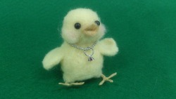 Today I went to a needle felting class and I made this little chicken (^______^)