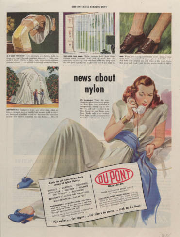 Advertisement for DuPont Nylon from The Saturday Evening Post, 1948  News about Nylon! Washable, stronger and they hold their shape!  Click to see more information about our upcoming exhibit: Fashion Meets Science: Introducing Nylon