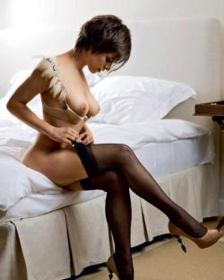 stockingsnheels:  Problem with watching her get dressed; by the time she's ready I want to stay in with her.