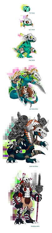 Native American Fossil Digimons TIPIMON-Level: Fresh -Type: Slime-Attack: Bubble Blow NATIMON-In-training-Type: Lesser-Attribute: Virus-Attack: Bone Cutter- Slices with his knife like claws PAKIMON-Level: Rookie -Type: Reptile-Attribute: Virus-Attack: Bone Scisor- lauches two slashing gusts with his claws that cut the opponent like a pair of scisors DEINONIMON-Level: Champion -Type: Dinosaur-Attribute: Virus-Attack: Razor Whirlwind- Its pins at high speed slashing his oponent with both his knifes and talons-Attack: Head Hunter- It slashes the wind with his pair of knifes, aiming to the throath BARYONIMON-Level: Ultimate -Type: Dinosaur-Attribute: Virus-Attack: Thunderdrum- Fires two powerful blasts of energy from his totem pole cannons-Attack: Rainmaker- Fires a wave of missils from its sides SHAMANIMON*Level: Mega-Type: Dragon Man-Atribute: Virus-Attack: Fire dancer- Shoots a round of blazing bullets from the barrel of its spear-Attack: Blazing Spear- Its spear is engulfed in fire from its barrel and its used against the enemy-Attack: Animal Spirit- It summons a giant astral form that looks like a savage baryonimon, and uses it to attack its oponent