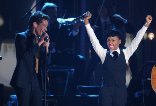 "Fun.'s Nate Ruess and Janelle Monáe perform on ""The GRAMMY Nominations Live!! on Dec. 5 in Nashville Photo: Kevin Winter/Getty Images"