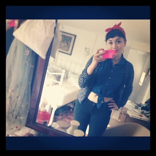 thesedaysofares:  The boredom of cleaning #cleaning #bored #vintage #bandana #redlips #polkadot #tool #lol