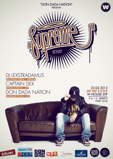 "flyer design for supreme stylez by yours truly ""ste"""