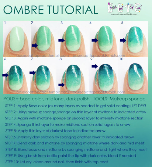 basecoat-topcoat:    As requested here is a tutorial on how I create the ombre nail!  This same technique can be applied to as many or as few colors as desired!  Check out more tutorials by visiting the TUTORIALS page!  To request a tutorial hit the ASK button or email me at basecoattopcoat.Kelly@gmail.com ! :)