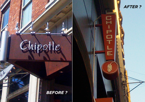 "redesignrelated:  Is Mexican-style fast food chain Chipotle suffering from a branding design ""identity crisis"", or are they slowly introducing a new logo type treatment?  (photo on left is Chipotle in East Village, photo on right is Gramercy Park / 23rd St. location)"