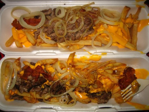 Heart Attack Fries Cheese-covered french fries with grilled onions, bacon and beef. (submitted by Dori via abock)
