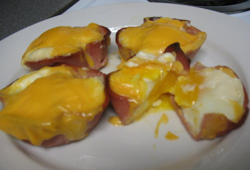 Redneck Quiches Eggs inside individual bologna cups topped with mayo and Velveeta cheese. (Submitted by Brandon)