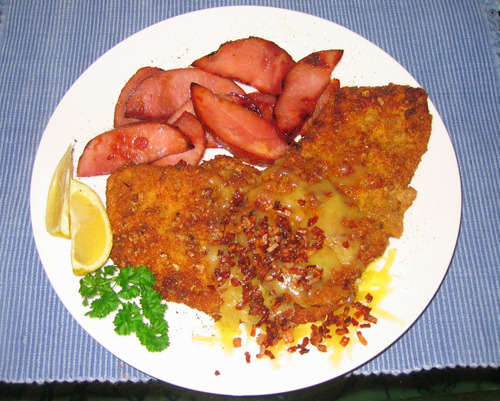 Porky's Revenge A pork schnitzel with ground pork crackle fried in butter topped with melted colby cheese and bacon bits. (submitted by Ryan Bahri)
