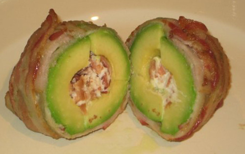 The Baconcado An avocado filled with goat cheese and wrapped in bacon. (Submitted by Phil Marks via baconjew)