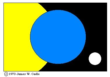 The Flag of Earth symbolizes the Earth (the center blue disk), the Sun (the yellow disk on the left), and the Moon (the white disk on the right). The Earth and its most important celestial neighbors - the Sun and Moon - are overlaid on a backdrop of the darkness of space. The Flag of Earth website is administered by NAAPO - the North American Astrophysical Observatory. NAAPO is a not-for-profit organization formed to run the Big Ear Radio Observatory in Delaware, Ohio, and which now runs the Ohio Argus Array. Flag of Earth website.