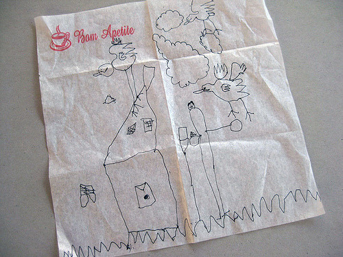 the postmanArtist: matilde, age 4. Posted by: alice (unregistered).I think that bird is going to fly away with the house! :)