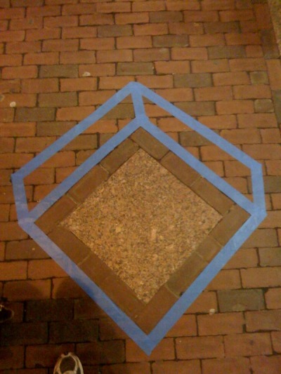 Geometric tape graffiti