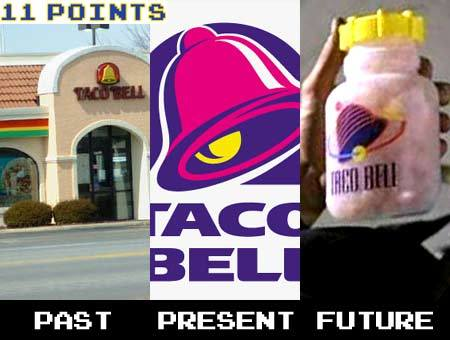 "Taco Bell apparently changed it's logo after ""Demoliton Man"" was released to look more like the futuristic version. My question is, did the design people for the movie have a ""head's up"" on the next planned iteration of the logo? Or did the Taco Bell designers simply take a cue from the film? 11 Obscure Taco Bell Trivia Facts - 11Points.com [h/t hilker]"