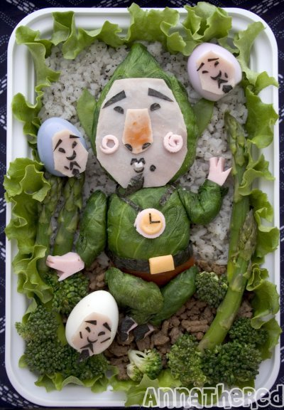 Tingle bento from Anna the Red. Look at the little Tingle eggs! Look at the legs! You know what? I'm going to have to zoom in on those, Cute Overload style.