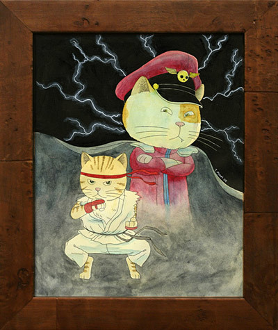 """Cat Fighter"" by John Pham. Click for larger version. The M. in M. Bison stands for ""Meow,"" it's true. You can see and purchase more Street Fighter tribute artwork from Jab Strong Fierce at Gallery Nucleus' site. See also: NSFW: ""Between Rounds"" by Bill Pressing, ""The Monster"" by Christian Ward"
