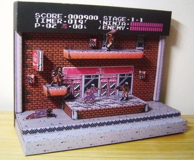 Ninja Gaiden stage 1-1 papercraft. I love these diorama-type papercrafts, and the Tiny Cartridge staff adores Ninja Gaiden, as you may have surmised. See also: Kid Icarus scene [Via Offworld]