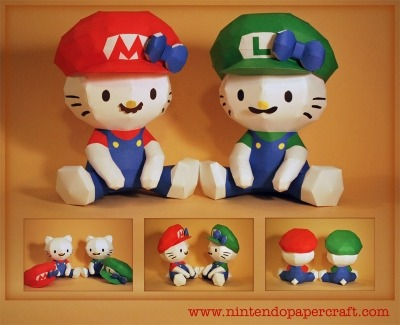 Hello Kitty as Mario and Luigi. Amazingly, the hats, mustaches, and bows in these papercraft models are all separate pieces, adding to the customizability — and the complexity — of their designs. Basically, I'm glad other people build these things, so I can appreciate their cuteness without having to take on projects I know are too complicated for me. And this is a seriously cute project.