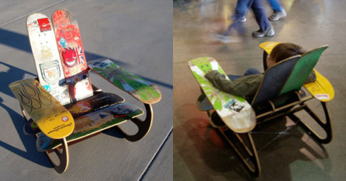 "'One of my favorite prototypes I saw was the Treehouse Designs Skate Deck Chair. From their site, the chair is a ""prototype for a furniture line in kit form constructed of reclaimed skateboard decks and CNC-milled color fin ply."" I, for one, can't wait until this kit is available because I have 6 old decks waiting for a new life. You also gotta love that the design team on this project is father/daughter duo Lance and Amanda Glover, coming up with a styley and functional use for Amanda's old skate decks.' — Craftzine.com blog : Treehouse Designs Skate Deck Chair"