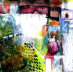 """On the Bowery Part 2"" - 42"" x 42"" Mixed Media on Paper - $2200"