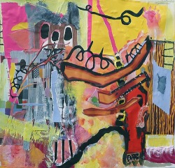 """Homage to Basquiat"" - 12"" x 12"" Mixed Media on Paper - $850"