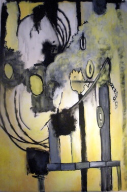 """Industrialist"" - 32"" x 47"" Mixed Media on Paper - $1800"