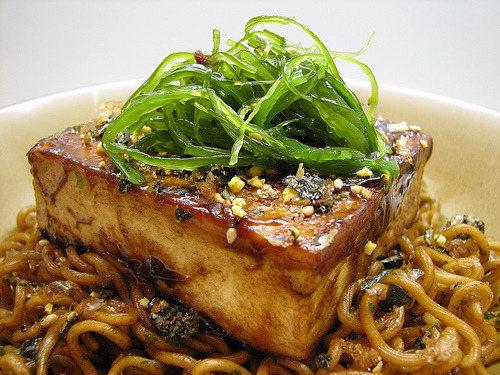 (via Sashertootie) Teriyaki Tofu topped with Seaweed Salad