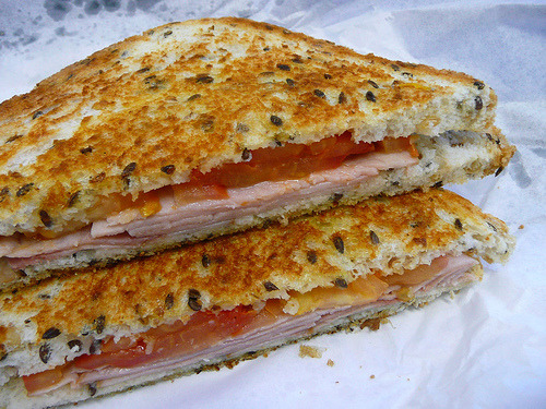 (via the food pornographer) Toasted ham and tomato sandwich on multigrain